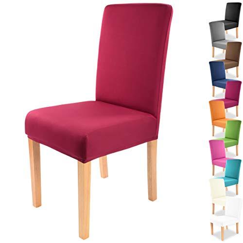 """Gräfenstayn® Funda para sillas elásticas Charles - respaldos Redondos y angulares - Ajuste bi-elástico con Junta Oeko-Tex Standard 100:""""Confianza verificada (Burdeos)"""