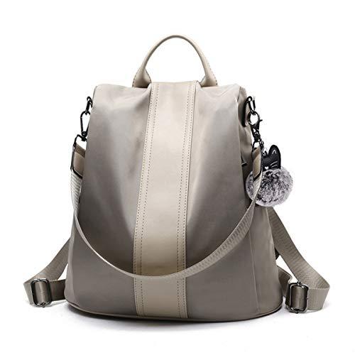 JL&LJ Damen Rucksack Handtasche Leder PU Umhängetasche Backpack Schultertasche Anti Diebstahl Tasche Wasserdichte Nylon Schulrucksack (kq)