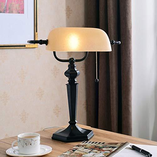 Lfixhssf schaduw tafellamp van glas met traditioneel antiek wit bankieren en onderleggers E27, schietlijn schakelaar Lfixhssf