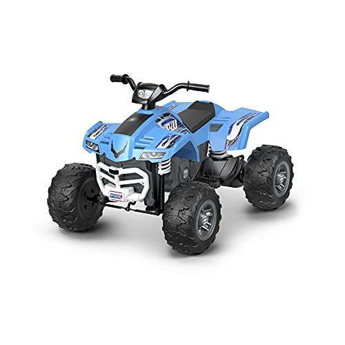 Power Wheels Racing ATV, Blue Battery-Powered Ride-on Vehicle for Preschool Kids Ages 3-7 Years