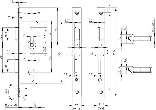 Gu bks Glastürschloss Einsteckschloss | Anschlag: DIN rechts | Ausführung: Stulp käntig | Dornmaß (mm): 45 | Lochung: PZ | Stulpbreite (mm): 20