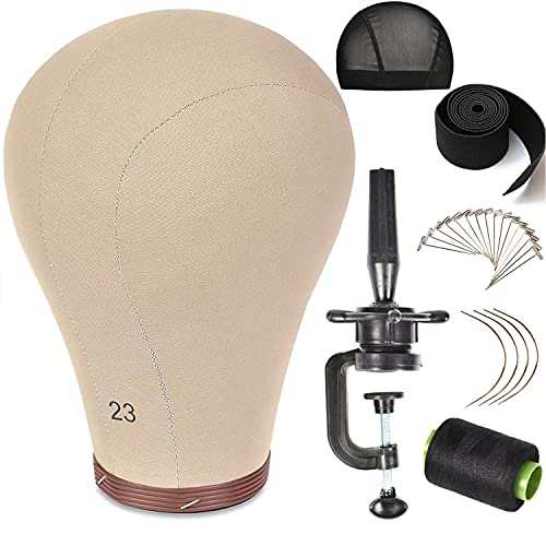 ZGCY 23 Inch Wig Head Cork Canvas Block Head Mannequin Head With Stand for Making Wigs (21''-24''INCH)