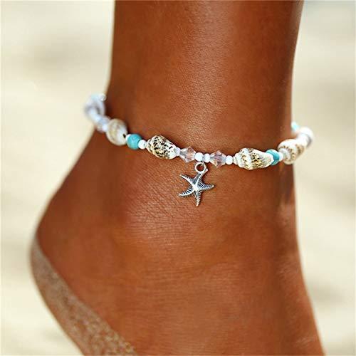 XKMY Tobillera para mujer, con cuentas de concha de mar, tobilleras para mujer, tobillera de playa, hecha a mano, bohemia, joyería bohemia, sandalias de regalo (color metal: S382)