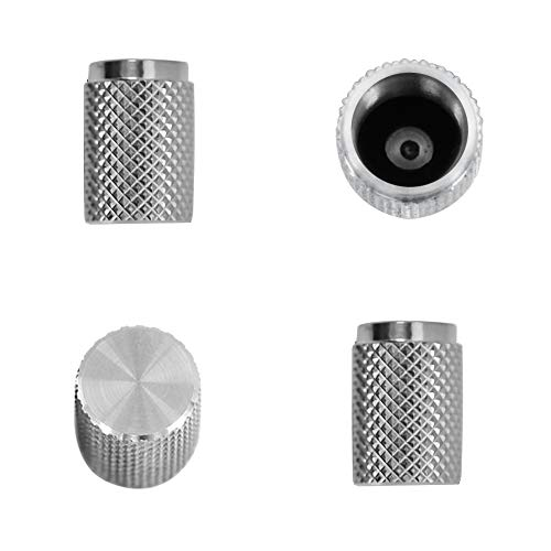 Divoti Precision CNC Machined Stainless Steel Tire Air Valve Caps, Wheel Tyre Stem Covers for Cars - Heavy-Duty, Airtight Seal, Textured Design, Screw-On, Dust-Proof - 2 Pairs - Stainless