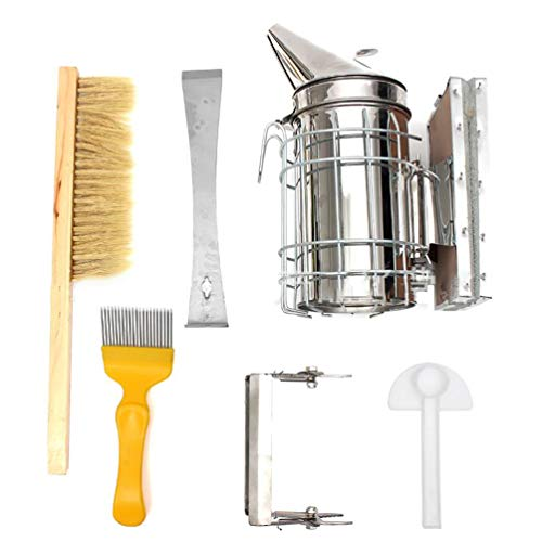 LvRaoo Bienenzucht Werkzeug Imkereibedarf Imkereizubehör Bienen Smoker Für Professionelle Einsteiger Imker (Silber, 6 Teiliges Set)