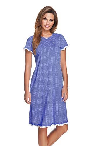 e.FEMME Damen Nachthemd Marion 308 aus Baumwolle mit Modal (Jeans/Ecru gepunktet, 44)