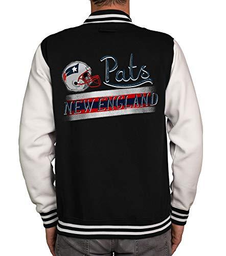 shirtdepartment - Herren College Jacke - Pats - New England schwarz-rot XL