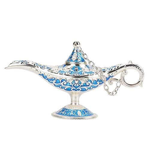Hakeeta Aladdin Wunderlampe, Weihrauchbehälter, Retro Klassische Legend magische Aladdin-Lampe aus Zinklegierung mit exquisiten Schnitzerei, Hoher Sammlerwert.6 Farbe erhältlich(Silber + Blau)