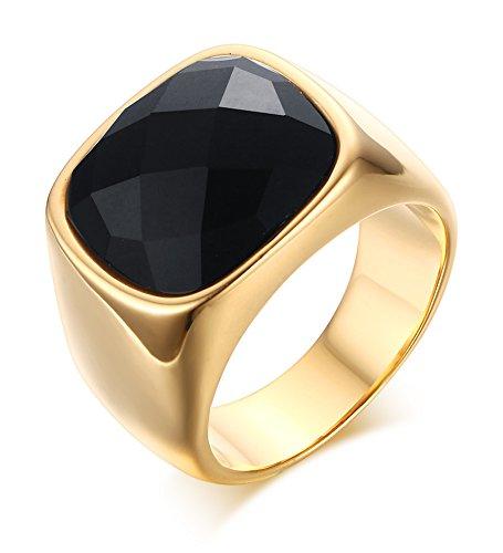 Vnox Antike Männer 16mm Edelstahl 18k Gold überzogener schwarzer Opalachat Edelstein Band Ring für Jahrestags Verpflichtung