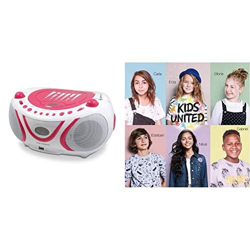 Metronic 477109 Radio/Lecteur CD / MP3 Portable Pop Pink avec Port USB - Rose et Blanc & Un Monde Meilleur