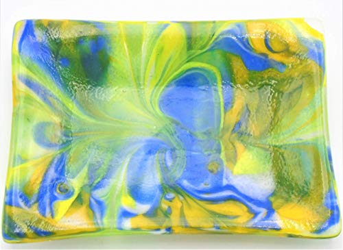 Decorative Blue Yellow and Green Wire Melt Soap Catchall Trinket Dish Handcrafted Fused Glass