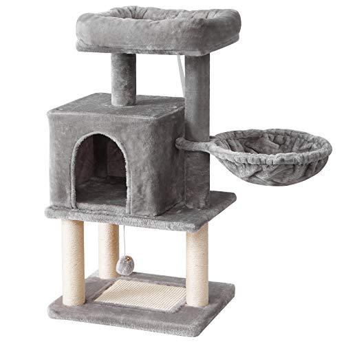 IBUYKE Árbol rascador Árbol para Gatos, Torre de Gato con Tablero de Sisal Bola de Campana, Altura 92cm Gris Claro CT007W