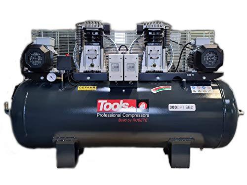 Profi DUO Kompressor 10 bar 3+3 PS 15 bar (max Kessel) 700 L/min 400V - 300L Kompressor DUO Power Industrie Werkstatt Kompressor mit 2 Aggregaten by Tools.de (300L Profi Kompressor)