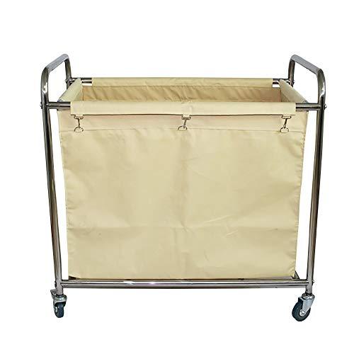 Küchenwagen Hochleistungswäschesortierer / -organisator-Rollwagen mit Easy-Glide-Rädern - Robuster Stahlrahmen in Cremefarben mit abnehmbaren wasserfesten Canvas-Stofftaschen