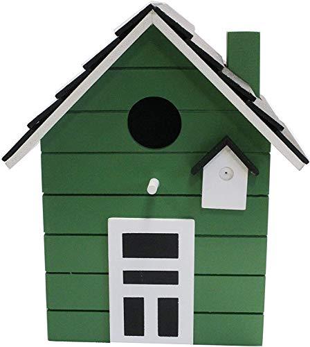 Casita de madera para aves pintada de verde para balcón y jardín.