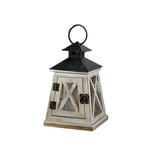 TentHome Retro Holz Laterne Landhaus Garten Windlicht für draußen Gartenlaterne Holzlaterne Kerzenhalter Glaslaterne Tischdeko (Kleines Schloss)