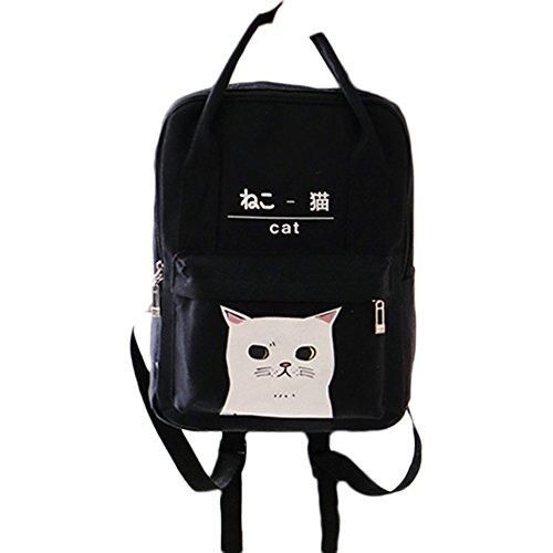 Himifashion Rucksack in japanischem und koreanischem Stil, mit Kawaii-Katze, für Damen und Mädchen, Schwarz