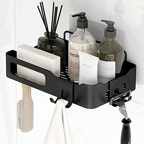 HINOR Duschablage Ohne Bohren,Badregal, Shampoo halterung,Dusch-organizer mit haken für küche, Schlafzimmer, Badezimmer (Schwarz)