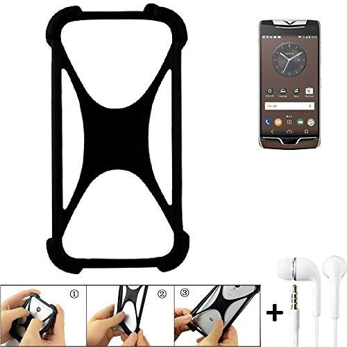 K-S-Trade® Handyhülle Für Vertu Constellation (2017) Schutzhülle Bumper Silikon Schutz Hülle Cover Case Silikoncase Silikonbumper TPU Softcase Smartphone, Schwarz (1x), Headphones