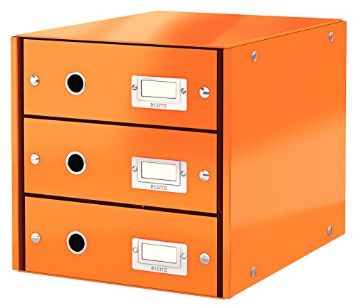 Leitz Click & Store Cassettiere, 3 cassetti, Cartone plastificato, 28.6 x 28.2 x 35.8 cm, Arancione, 60480044