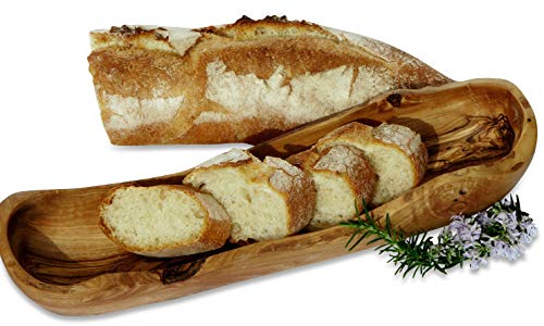 Figura Santa Olivenholz Brotkorb Baguette. Holzschale speziell für Baguette. 33 cm - 36 cm. Original Qualität!