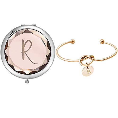Compact Crystal Pocket Makeup Mirrors,Letter Mirrors Set Include 1 Letter Mirror 1 Letter Love Knot Bracelets for Bachelorette Party Bridesmaid Proposal Gifts ,Wedding Party Gifts. (Champagne R)