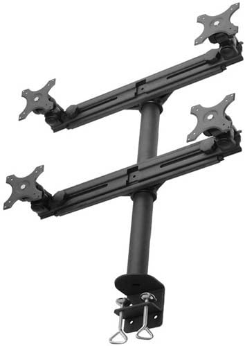 MonMount Quad Up to 27-Inch Screens Monitor Mount Stand Clamp Style, Black (LCD-2040B)