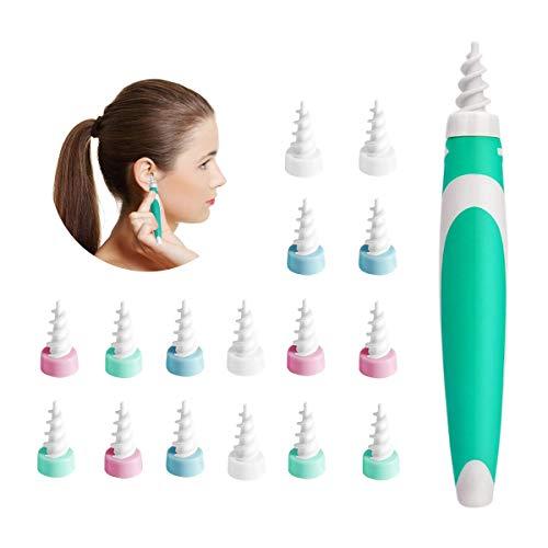 Ohrenreiniger, 360 Grad Spiralohrlöffel,Werkzeug Zum Entfernen Von Ohrenschmalz,Geeignet für Kinder, Jugendliche und Erwachsene- 16 Ersatzköpfe