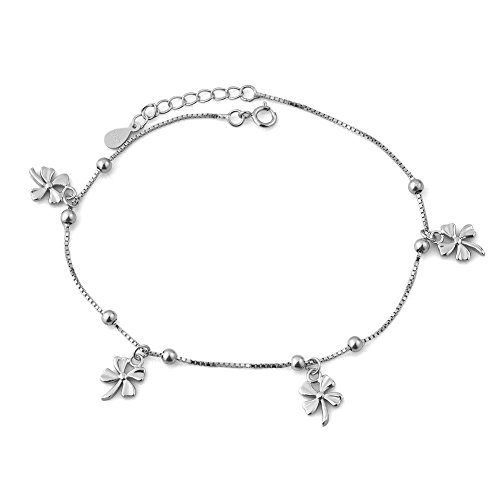 UNIQUEEN Lucky Elegant Sexy Sterling Silver Four Leaf Clover Anklet Ankle Bracelet Beach Girl
