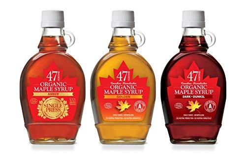 47 North TROIKA DELUXE, Jarabe de arce orgánico canadiense; 1x SINGLE PRESS Amber, 1x Golden, 1x Dark, 3x250g LIMITED EDITION