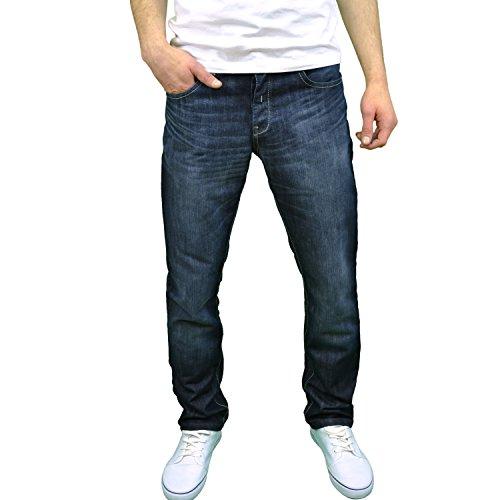 Enzo Mens Designer Regular Fit Straight Leg Jeans Sizes 28″-48″