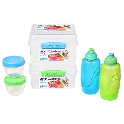 Sistema To Go Lunch box e porta pranzo per bambini | 2 Bottiglie per l acqua per bambini Twist  n  Sip, 2 Lunch Cube Max con divisori e 2 contenitori per yogurt a tenuta stagna | Privi di BPA