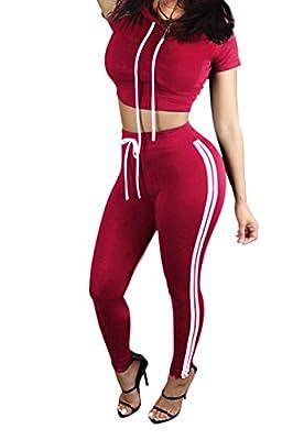 Pink Queen Women Casual Sport Bodycon Crop Top Long Skinny Pant Set Tracksuit