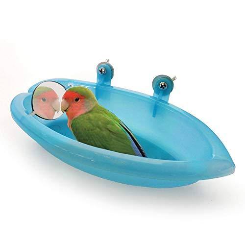AYRSJCL 1pc pájaro Azul bañera con Espejo de Juguete y alimentador Fuente alimentaria para el Loro del Cockatiel Parakeet Finch Canarias Gris Africano cacatúa