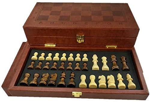 WCY Schachbretter Sets Schach Set Schach Europäischen und amerikanischen klassischen faltenden Leder Box Schach Tragbares Brettspiel Backgammon und Schach-Set yqaae