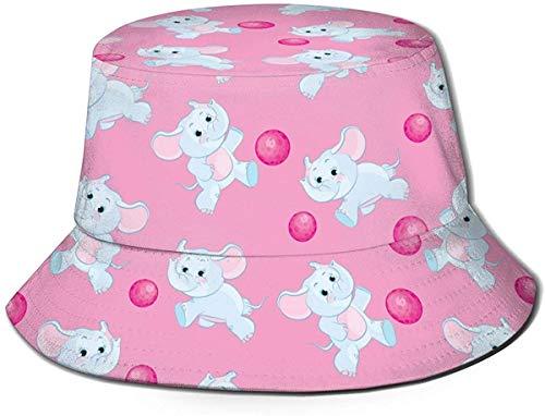 Unisex Pink Flamingo Birds Travel Bucket Hat Gorra de Pescador de Verano Sombrero para el Sol-Elefante Rosa