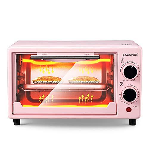 Oven zxmpfg Mini Horno Horno automático multifunción para el hogar, Puerta de Vidrio a Prueba de explosión de Tres Capas, Temperatura de hasta 250 ° C, Tiempo de hasta 60 Minutos, 10L, Rosa