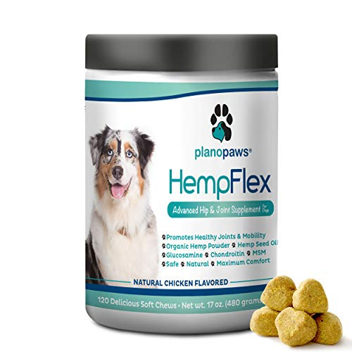 HempFlex - Glucosamine Chondroitin for Dogs - Hemp Oil for Dogs - Safe, All-Natural Dog Joint Supplement - 120 Mobility Hemp Dog Treats - Hip & Joint Support for Dogs - Dog Arthritis Pain Relief