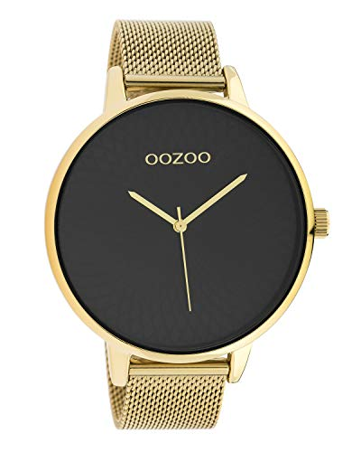 Oozoo Damenuhr mit Edelstahl Milanaiseband und Mandala Zifferblatt Goldfarben/Schwarz 48 MM C10553