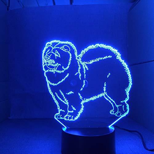 Chow Chow New Hund Lampe 3D Nachtlicht Kind Spielzeug LED 3D Touch Tischlampe 7 Farben Blinkende LED Licht Weihnachtsschmuck für Zuhause