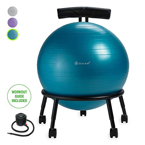 Gaiam Custom-Fit Balance Ball Chair - Exercise Stability Ball Adjustable Desk Chair for Home or...