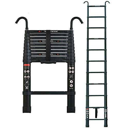 10.5ft / 3.2m Telescopic Attic Loft Ladder Aluminum with Roof Hook Kit Multi-Purpose Ladders Folding...