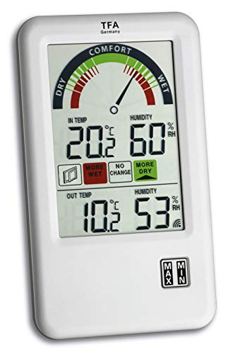 TFA Dostmann Bel-Air Funk-Thermo-Hygrometer, mit Lüftungsempfehlung Komfortzonenanzeige, zur Raumklimakontrolle