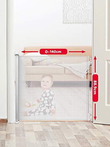 Callowesse©- Air Einziehbares/Einrollbares Tür- und Treppenschutzgitter 0-130cm- Einhandbedienung, Stilles Zurückziehen, Sicherheitsgitter (Weiβ)