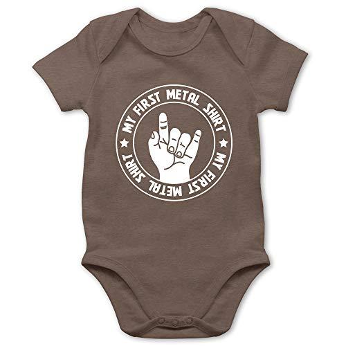 Strampler Motive - My First Metal Shirt - 6/12 Monate - Braun - Body Baby mit Spruch - BZ10 - Baby Body Kurzarm für Jungen und Mädchen