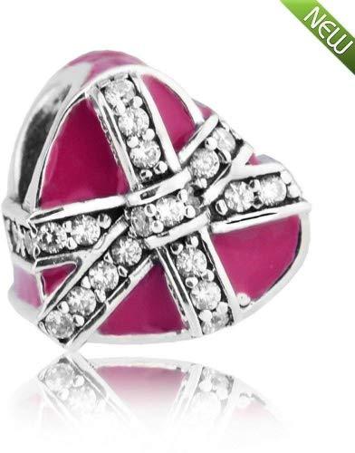 PANDOCCI 2017 Saint Valentin bricolage s'adapte pour les bracelets originaux 925 cadeaux en argent sterling d'amour magenta émail et CZ claire Charms Bijoux Fabrication de bijoux
