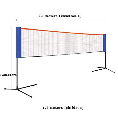 ljh1024 Mobile Volleyball-, Badminton- und Tennisnetze Höhenverstellbar Federballnetz mit Ständer Hammer 3 in 1Geeignet für Innen-, Außen-, Strand, Park76*18 * 16cm