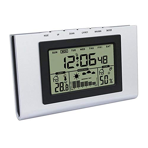 JSFDSUCM Thermometer Indoor Computer Room LCD Electronic Temperature and Humidity Meter Digital Thermometer and Hygrometer Weather Station Alarm Clock