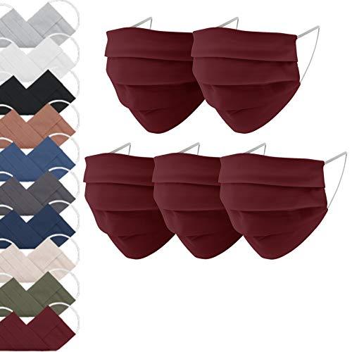 EllaTex 5er Pack Mund-Nasenschutz Masken/Atemschutz Maske Behelfsmaske Baumwolle WASCHBAR WIEDERVERWENDBAR in 10 Farben verfügbar, Farbe:Weinrot