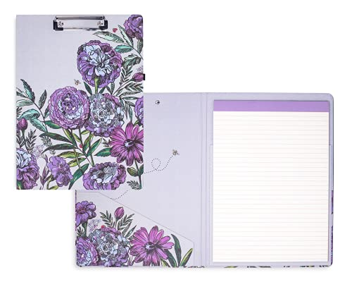 Vera Bradley Women's Purple Floral Clipboard Folio with Refillable Lined Notepad, Interior Pocket, and Pen Loop, Lavender Meadow